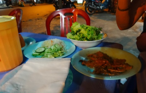 Our first fresh spring roll experience in the streets on Hoi An was super tasty too