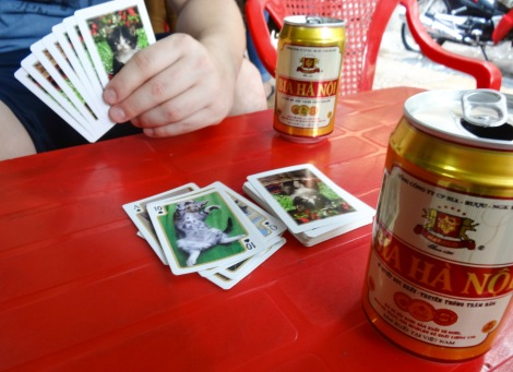 We escaped the rain with a beer and a few really manly card games