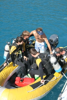 The guys getting ready for a dive