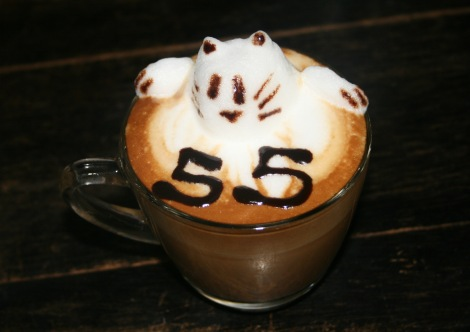Cafe 55's specialty, cat coffee art