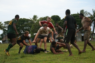 The lads enjoyed learning to play rugby sevens, the Fijian way!