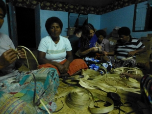 Basket and bracelet weaving with the women of the village