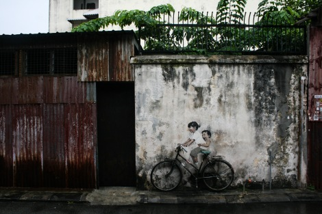 'Little Children on a Bicycle' Mural, Armenian Street,