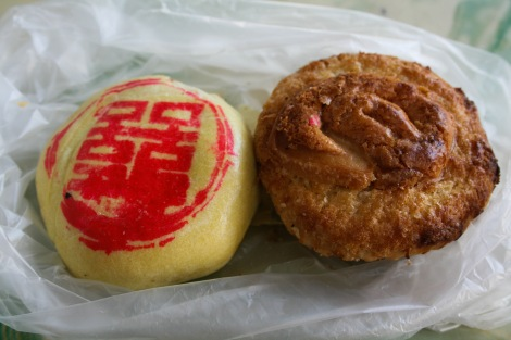 Traditional wedding cakes filled with lotus flower paste.