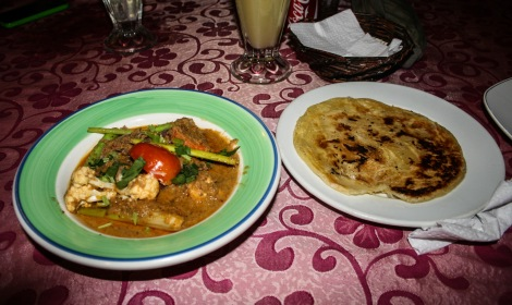 Malaysian curry and a paratha bread.