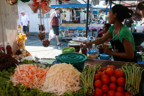 Thai woman selling papaya salad, Koh Phangan