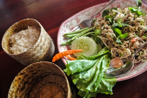 Lamb larb and sticky rice, Laos.